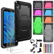 For Motorola Moto E6 Case Hybrid Rugged Rubber Armor Slim Phone Cover+Accessory