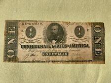 T-62 - 1863 - $1 - Confederate (Csa) Paper Money - Currency - Authentic Note