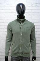 Yell Uomo Taglia L Maglione Felpa Sweater Cardigan Pullover Cotone Verde Man