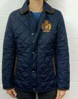 POLO RALPH LAUREN WOMENS NAVY GOLD CREST QUILTED PUFFER JACKET SUEDE TRIM SIZE M