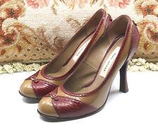 WOMEN'S MARC JACOBS NOISETTE BROWN & RED ROUND TOE PUMPS HEELS SHOES SZ 6.5