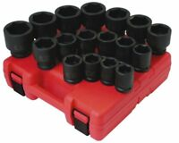 "Sunex 4683 17 Piece 3/4"" Drive 6 Point Sae Heavy Duty Impact Socket Set"