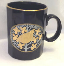 OTAGIRI PARTRIDGE IN A PEAR TREE COFFEE MUG / CUP BLACK W/ GOLD ACCENTS RARE