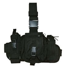 BLACK THIGH RIG Tactical Army SWAT Molle Drop Leg Mag Utility Pouch