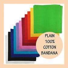 BANDANA Plain 100% COTTON Head Wrap Bandanna Durag Scarf  Summer Headwrap Mask