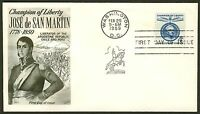 #1125 4c Jose de San Martin, Fleetwood FDC **ANY 4=FREE SHIPPING**