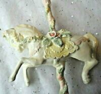 Victorian Chic Ornament - RESIN WHITE CAROUSEL HORSE w/ROSE ACCENTS