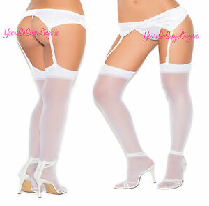 Plus Size GARTER BELT Stretch Satin Retro 50's Style with or without Stockings
