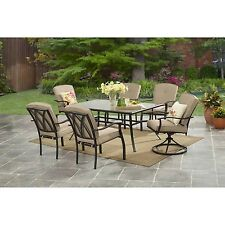 Outdoor Patio Furniture 7Pc Long Dining Table Set w/ Six Cushion Arm Chairs, Tan