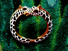 Kenneth Jay Lane Black & White Spots Giraffe Gold Bracelet Cuff Bangle