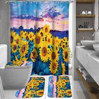 4PCS Anti-Slip Bathroom Toilet Rug+Lid Toilet Cover+Bath Mat+Shower Curtain  US