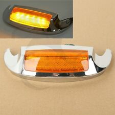Motorcycle Chrome Front LED Fender Tip Amber Light For Harley Road Glide 2016