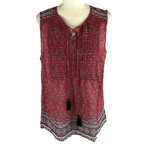 Knox Rose Women's Size Large Printed Lace Up Tassel Tank
