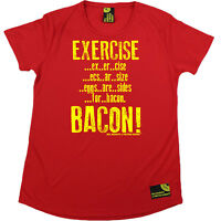 Ladies Gym Exercise Bacon bodybuilding workout training DRY FIT R NECK T-SHIRT