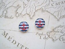 RED ANCHOR NAVY BLUE STRIPE DOMED GLASS NAUTICAL Stud 12mm SP Earrings Sailor