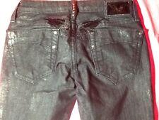 Robin's jeans black/w metallic silver paint splash size 26/29 in straight leg
