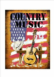 Country Music Retro Style Metal Sign Kitchen  Vintage  Sign Bar Sign Cowboy