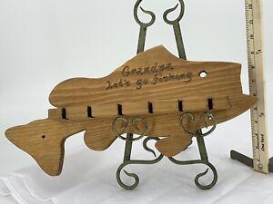 Vintage Wooden Fish 6 Fishing Pole Rod Holder Grandpa Rustic Decor USA Made New