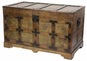 Rustic Natural Wooden Streamer Trunk with Studded detail, Medium