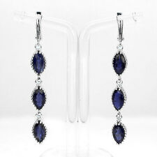 Sterling Silver 925 Genuine Natural Iolite Tennis Design Dangle Earrings