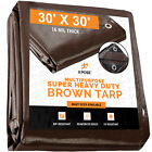 30' x 30' Super Heavy Duty 16 Mil Brown Poly Tarp Cover - Thick Waterproof