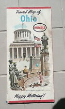 1963  Ohio  road  map Humble oil gas McKinley Memorial State Capitol cover