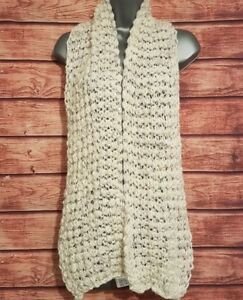 30% WOOL Scarf M&S LIMITED COLLECTION White/Silver METALLIC Chunky Loose Knit