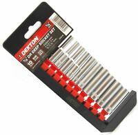 Dekton 10pc Chrome 1/4 Metric Deep Drive Long Reach Socket & Rail Set 4mm - 13mm