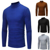 Men's Size Neck Sleeve Slim Long Casual Fit Shirt Solid Plus Tops Turtle