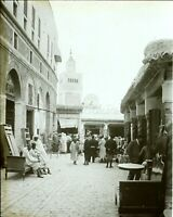 Tunisia Tunisi Bazaar Moschea c1900, Foto Stereo Vintage Placca Stereo VR6L2