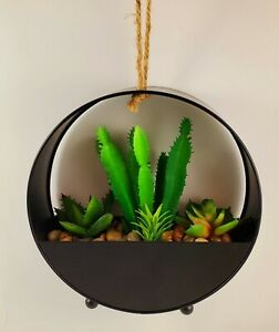 """NEW! Modern Industrial Round Black Metal Artificial Succulent Planter 7.5"""" Tall"""
