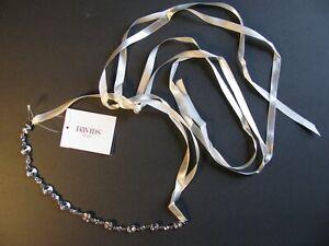DAVID'S BRIDAL Crystal Silver Ivory Sash Ribbon Adjustable Accessory Party NWT