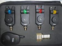 4 Mag Roller Slimline Wireless Bite Alarms + Receiver + Case + speaker Mufflers