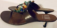 Ann Marino Leather MULTI PEARL JEWELED Brown Flip Flop Kitten Heel Sandals 10M