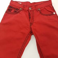 True Religion ROCCO Mens Jeans W35 L31 Red Regular Fit Straight High Rise