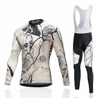 Men's Cycling Long Bib Pants Cycle Jersey Long Sleeve Cycling Wear Kit Skeleton