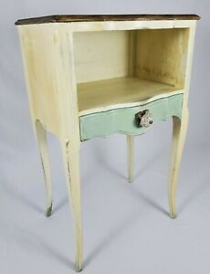 Vintage Louis XV Nightstand End Table With Drawer Walnut French Provincial
