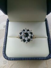Vintage 9ct Gold Sapphire & Cubic Zirconia Cluster Ring Size N