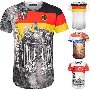 Länder Em WM Oversize Herren Crew Neck  Shirt Sommer T-Shirt Rundhals R-0048