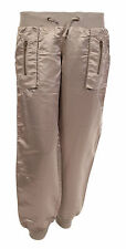 Womens Ladies Satin Silky Low Rise Casual Trousers Stretch Shiny Pants HAREM 10 Gold