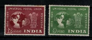 India 1949 UPU 9p and 12a SG325, 328 MNH see note