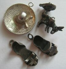 VINTAGE Sterling Southwestern MEXICAN Silver Charms BURRO~SOMBRERO~SANDALS