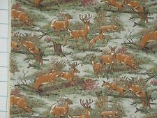 DEER Doe Buck Forest Woods Trees Scene Green Brown Quilt Fabric ~ Sold by ½ YARD