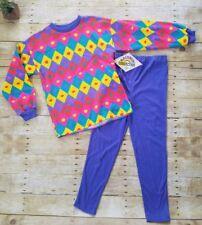 90's Retro Color Block Girls Sweatshirt & Pants Outfit Sz L (14)  NOS NWT