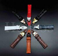 12-24MM Watch Band Strap Genuine Leather Alligator Deployment Clasp Buckle Black