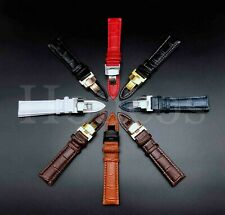 12-24MM Watch Band Strap Genuine Leather Alligator Deployment Clasp Buckle Black