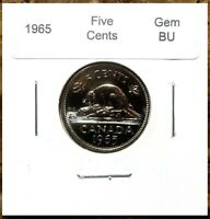 Canada 1965 Five Cents UNC Gem BU Nickel!!