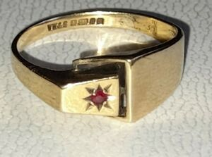Uk Hallmarked 9ct Yellow Gold Ruby Set Unusual Buckle Ring, Large Size Sz Y.