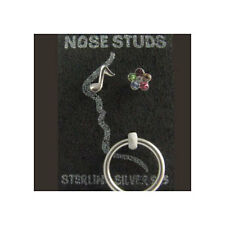 Lot Three Pack 925 Sterling Silver Nose Studs Pins Bones Mixed 3 Pack With Ring
