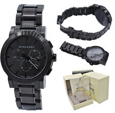 Burberry Watch Men BU9354 Black Check Stamp Chronograph Stainless Steel Band